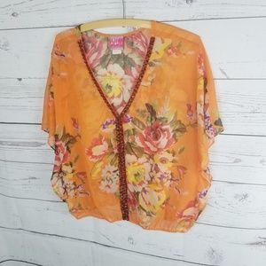 Free People Floral Beaded Sheer Blouse Small